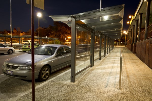 Perth Glass Covered Walkway Night