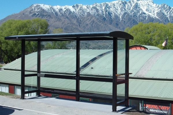 Queenstown Bus Shelter all glass plus ski rack mountains