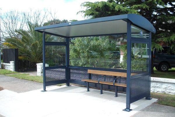 Tauranga Bus Shelter Blue Lined